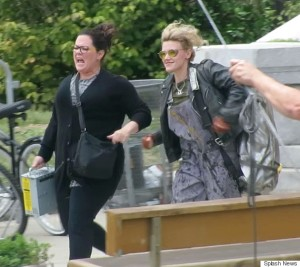 Melissa McCarthy, Kate McKinnon, and Kristin Wiig all together for 1st day of filming all girl 'Ghostbusters' in Boston with slime on pants and ghost trap. Melissa and Kate were running out of a mock Bronx School where they had just encountered a ghost. Kate had slime all over her pants and was carrying a large backpack with logo on it as Melissa's character carried a brand new style ghost trap that was similar to the classic 1980's version from the male cast. The girls all had a blast as they got off to an early day of filming together for the very first scene. Pictured: Melissa McCarthy, Kate McKinnon, and Kristin Wiig  Ref: SPL1055293  180615   Picture by: Prahl/Rocke Splash News Splash News and Pictures Los Angeles:310-821-2666 New York: 212-619-2666 London:870-934-2666 photodesk@splashnews.com