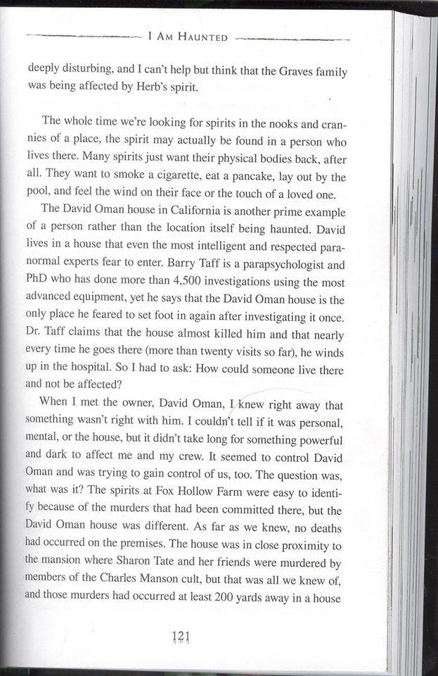 Deuche bag Zak Bagans writes in his new book,says David Oman is