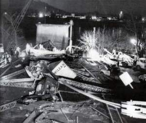 File photo: This photo, taken on the Ohio side of the Silver Bridge, shows cars and trucks among the wreckage. -