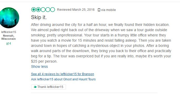 Branson Ghost Tour Reviews